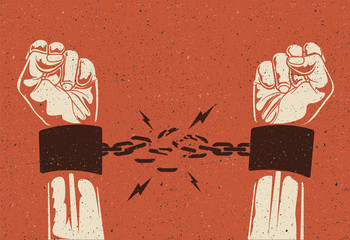 Human hands break the chain. Freedom release concept. Broken chain. Vintage styled vector illustration.