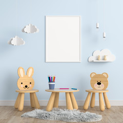 Blank photo frame for mockup in children room, 3D rendering