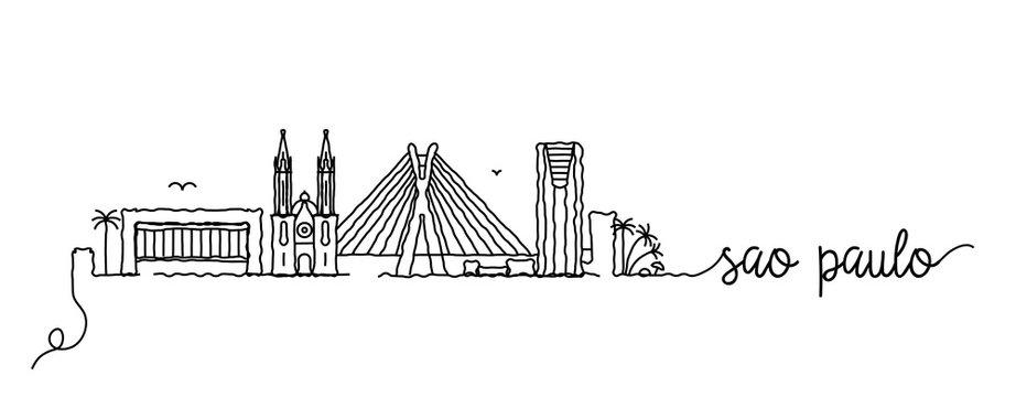 Sao Paulo City Skyline Doodle Sign