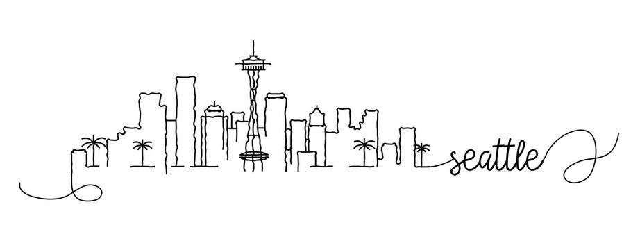 Seattle City Skyline Doodle Sign