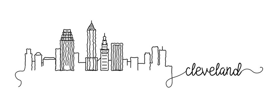 Cleveland City Skyline Doodle Sign