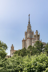 Moscow State University named after M.V. Lomonosov. Main building of MSU. The territory of Moscow University. Education in Russia, Moscow. Moscow landmark.