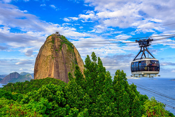 Photo sur Toile Brésil The cable car to Sugar Loaf in Rio de Janeiro, Brazil