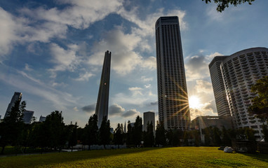 Modern skyscrapers during sunset