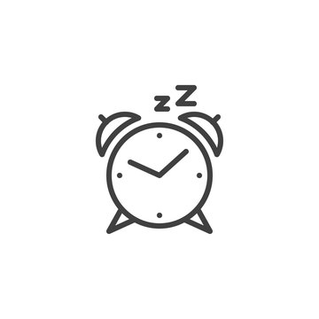 Alarm clock line icon. linear style sign for mobile concept and web design. Clock Sleep outline vector icon. Symbol, logo illustration. Vector graphics