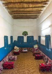 Majlis in a traditional mud house, Najran Province, Najran, Saudi Arabia