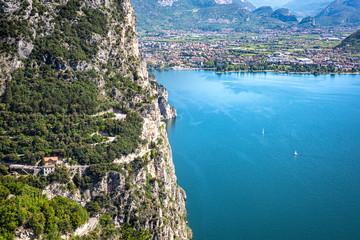 Wall Mural - Riva del Garda as seen from Pregasina, a little village on the mountain. Riva del Garda, Garda Lake, Trentino Alto Adige, Italy.