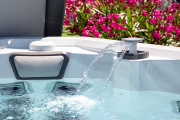 high-pressure water jet in an individual spa