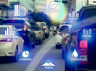 Concept CSR Icon on transportation on the city with many car in rush hours.