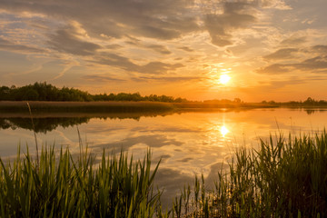 Sunset above the pond or lake with cloudy sky at summer and water reflection. Fototapete