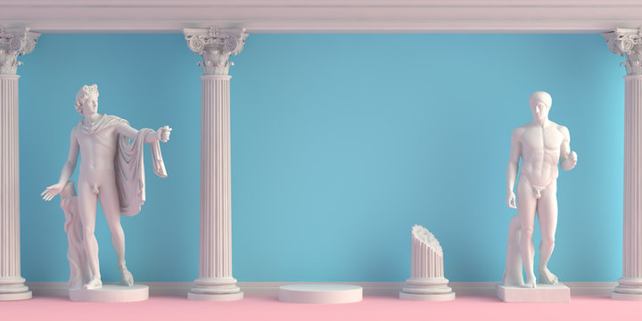 3d-illustration of interior with antique statues Apollo and Doryphoros