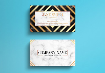 Elegant Gold And Marble Business Card Layout