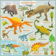 Dinosaurus of Cretaceous period vector format land illustration fantasy map builder set