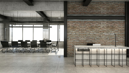 Office reception design Modern & Loft,Concrete counter in front of the black steel frame,Brick wall,Concrete floor - 3D render Wall mural