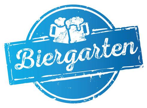 blauer Button Siegel Biergarten mit Bierkrügen zerkratzt