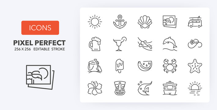 summer line icons 256 x 256