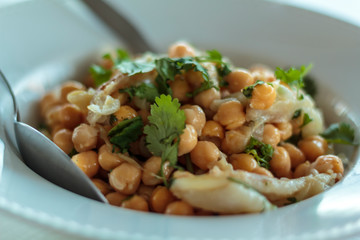 Chickpeas salad with cod and coriander