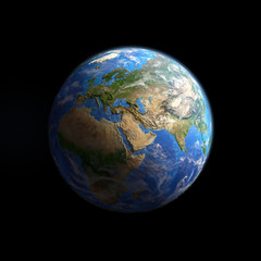 Wall Mural - Planet Earth viewed from space, isolated on black