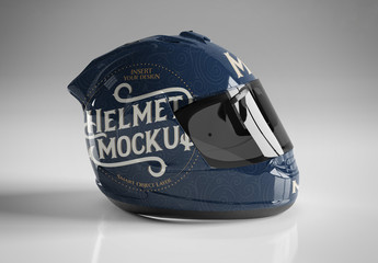 Motorcycle Helmet Isolated on Grey Mockup