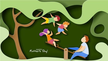 Happy fathers day card. Paper cut style