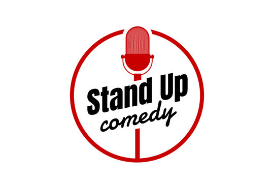 Stand up comedy night live show round sign. Retro microphone with inscription. Vintage vector illustration