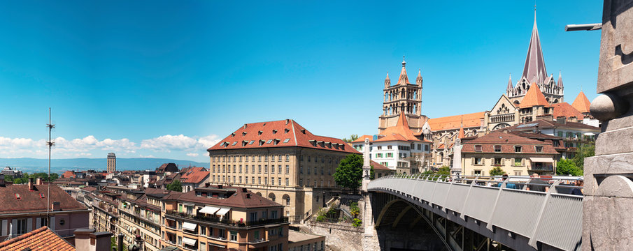 Panorama view of Lausanne Cathedral and city skyline. Vaud, Switzerland