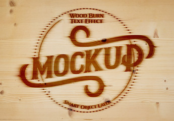 Woodburner Text Effect Mockup