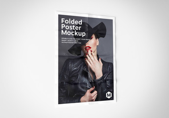 Folded Poster Isolated on White Mockup