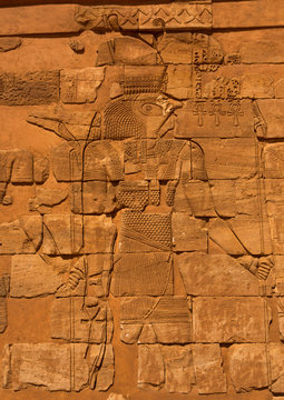 Sudan, Nubia, Naga, the restored lion temple in musawwarat es-sufra