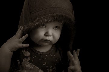 Baby Rapper on Black with Hood