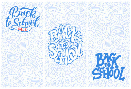 Welcome back to school lettering quotes and doodle backgrounds. Template for sale tag. Hand drawn banners. Education concept. Typography emblems. Vector