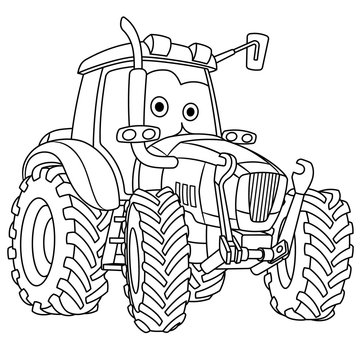 coloring page with tractor farming vehicle