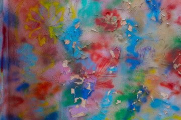 multi-colored concrete wall, colored stains on white plaster