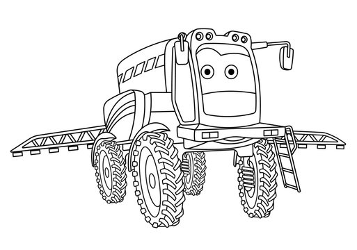coloring page with agricultural sprayer tractor