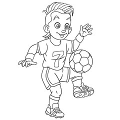 coloring page with footballer football player