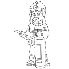coloring page with fire man fireman firefighter