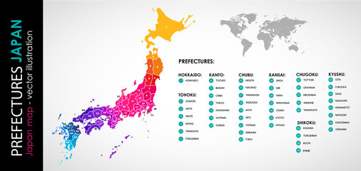 Vector map of Japan and 47 prefectures COLOR