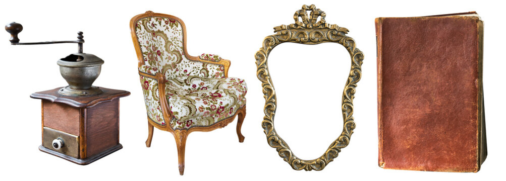Set of beautiful antique items, picture frames, furniture, silverware. Retro. Vintage. Isolated on black background.