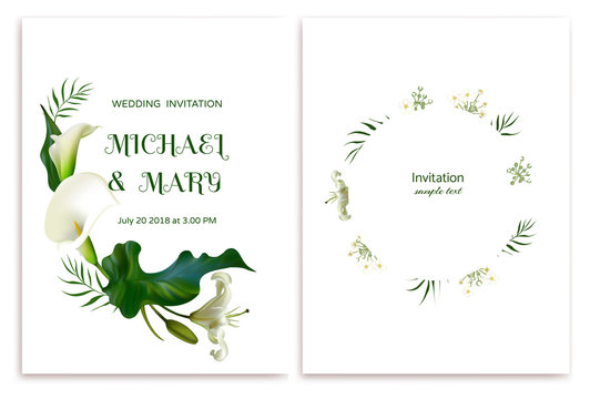 White flowers. Flower background. Calla. Lilies.  Green leaves. Wedding invitation. Green leaves.