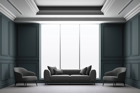 3d rendering illustration of living room with black luxury classic wall panel.
