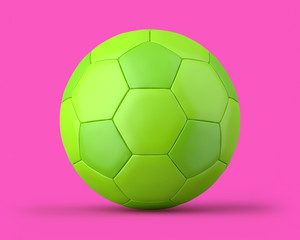 Green soccer ball on a pink background. 3d render. Front view. Kitsch Art Series.