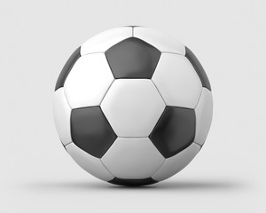 White and black soccer ball on a light grey background. 3d render. Front view. Isolated Objects Series.