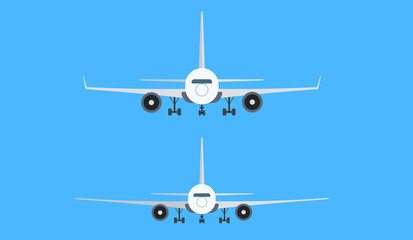 Cartoon picture of different aircraft, airplane, airliner. Vector illustration. White background.