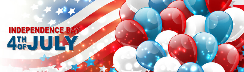 4th of July United States national Independence Day celebration banner with blue, red, and white balloons, confetti, stars, and American flag design concept. Vector illustration.