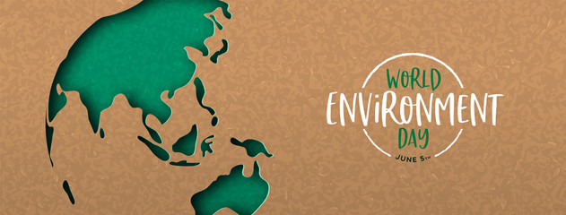 Environment Day banner of green cutout earth map