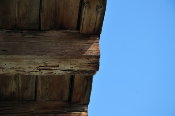 weathered wooden joist at old house