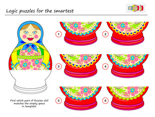 Logic puzzle game for smartest. Find which part of Russian doll matches the empty space in template. Printable page for brainteaser book. Developing spatial thinking. Vector cartoon image.
