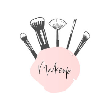 Makeup banner with brushes, template for makeup artist, hand drawn vector illustration