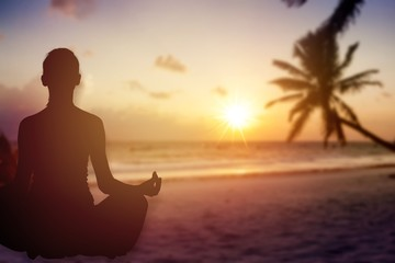 Wall Mural - Meditation relax yoga background beach body calm