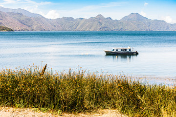 Moored boat on Lake Atitlan, Guatemala